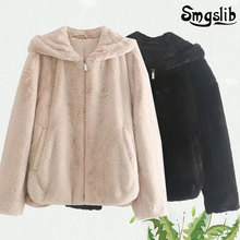 winter jacket women england vintage solid faux fur warm thick hooded Recreational Fashion tops