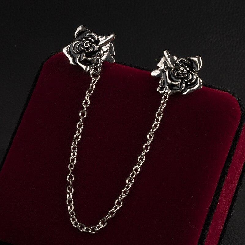 Новая Винтажная эмалированная брошь на булавке в виде Розы, кисточка, цепочка, броши, рубашка, воротник, игла, отворот, булавка для мужчин и женщин, ювелирные изделия, подарки|Броши|   | АлиЭкспресс