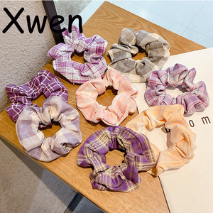 [Xwen] 2020 New Fashion Plaid Large Intestine Hairband Headband Girl Simple Butterfly Bowstring Lovely Headdress OH2139