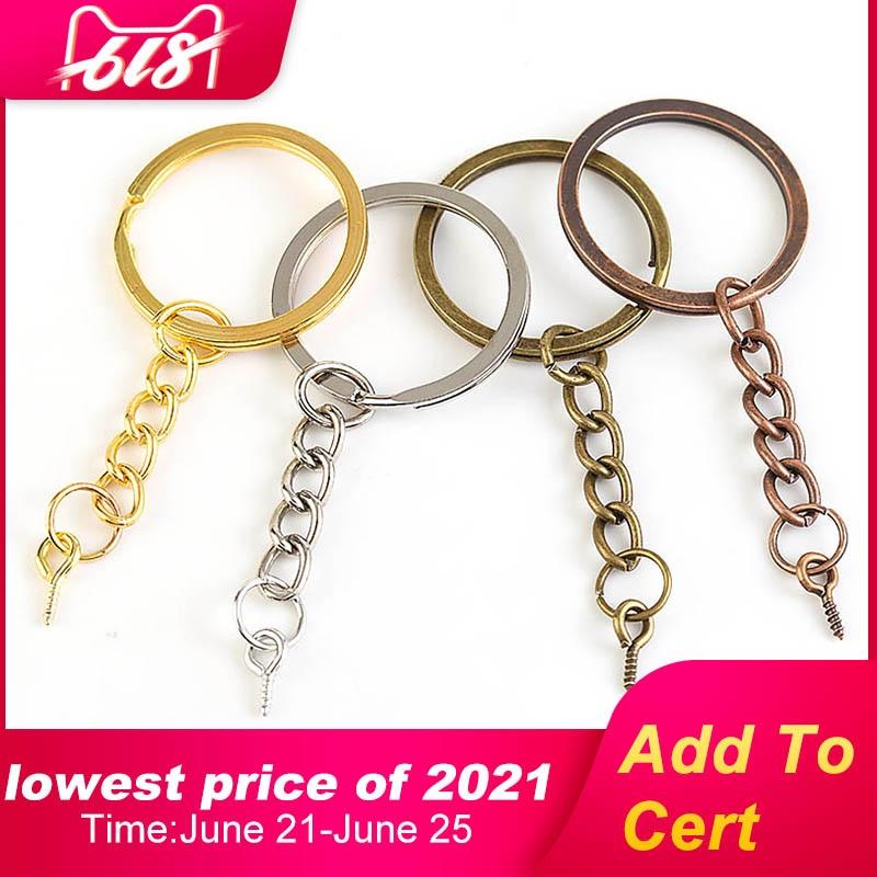 10-20pcs/lot Screw Eye Pin Key Chain Key Ring keychain Bronze Rhodium Gold Keyrings Split Rings With Screw Pin Jewelry Making