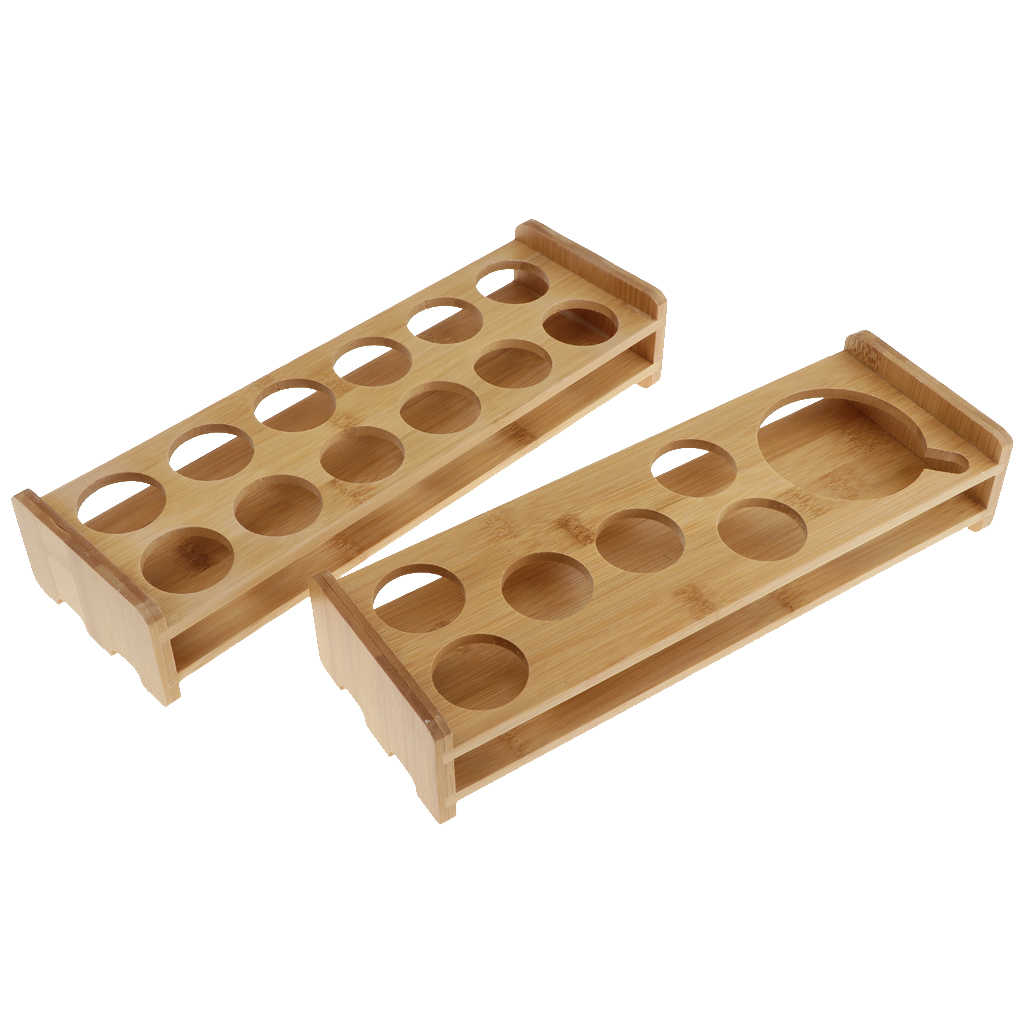 Bamboo 6 Holes Straight Wine Serving Tray Hold Rack Pub Glass Supplies