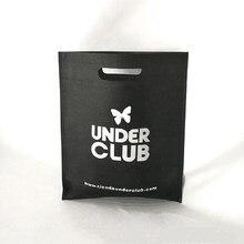 Hurtownie 500 sztuk/partia niestandardowe drukowane Logo spersonalizowane Die-cut uchwyt zakupy prezent włókniny torby promocyjne tkaniny torby biznesowe