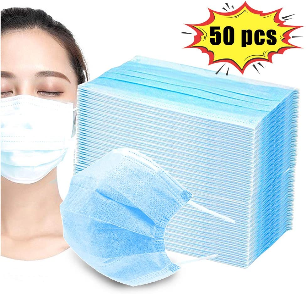 24 Hours Shipping 50PCS Spot Disposable Protective Mask 3 Layers Filter Non Woven Face Mouth Anti Virus Mask