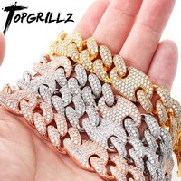TOPGRILLZ 16mm Miami New Box Clasp Cuban Link Chain Gold Silver Necklace Iced Out Cubic Zirconia Bling Hip hop for Men Jewelry