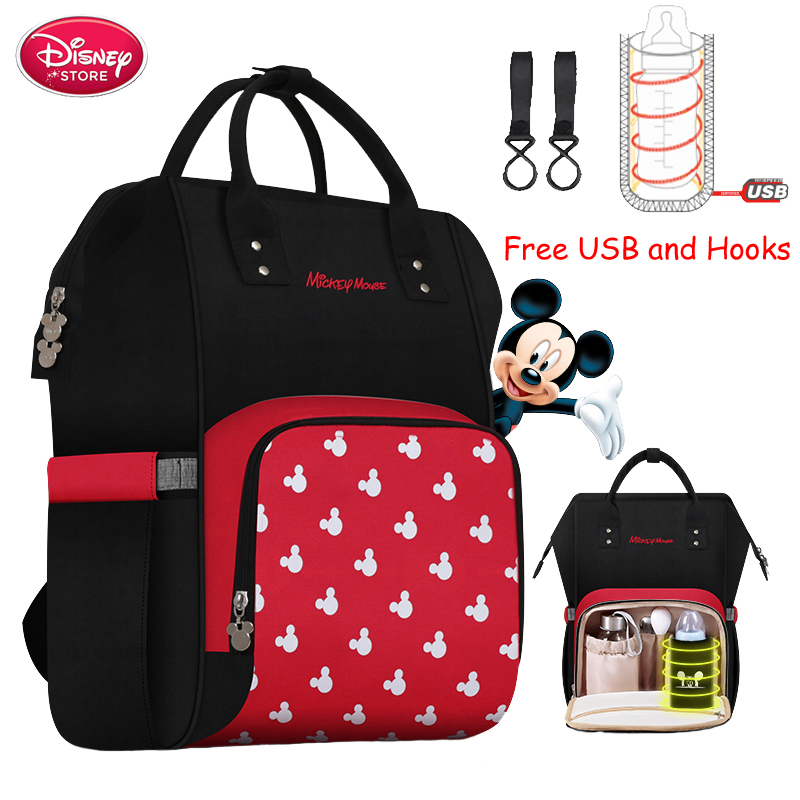 Disney Diaper Bag Backpack USB Bottle Insulation Bags Minnie Mickey Big Capacity Travel Oxford Feeding Baby Mummy Handbag
