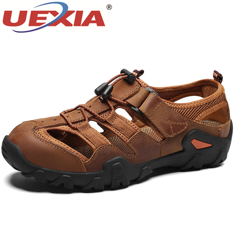 UEXIA Summer Men's Shoes Outdoor Sneakers Casual Shoes Anti-collision Leather Non-slip Sneakers Men Beach Sandals Big Size 38-48
