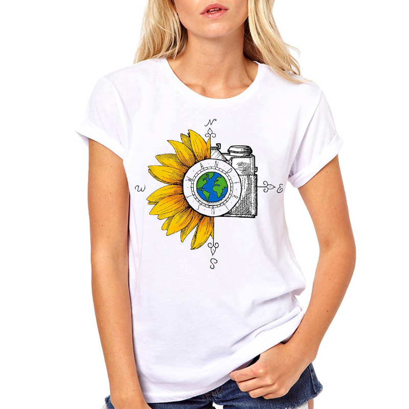 Women Clothes Sunflower Camera  Graphic Cute Printed Summer Fashion Ladies Woman Harajuku Top Tee Shirt T Female T-shirt