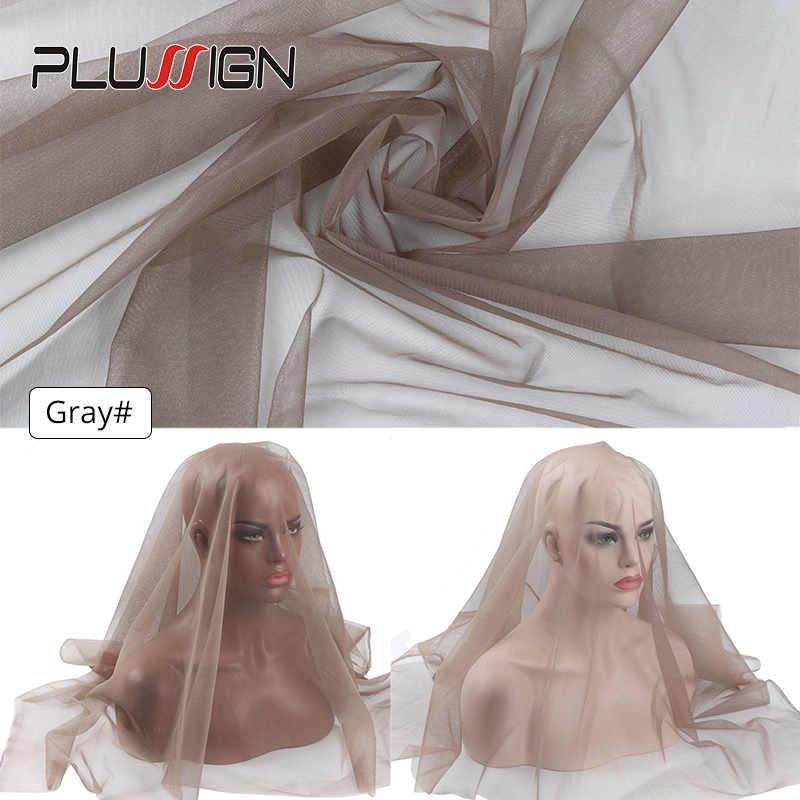 Plussign 1/4 Yard saç dokuma örgü üst Swiss dantel malzeme bodrum peruk Frontal kapatma Net peruk yapmak için