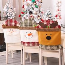 Рождественские Чехлы для стула, Санта Клаус, снеговик, наряды для обеденного стола, стулья, чехлы на спинку стула, Декор для дома@ 5