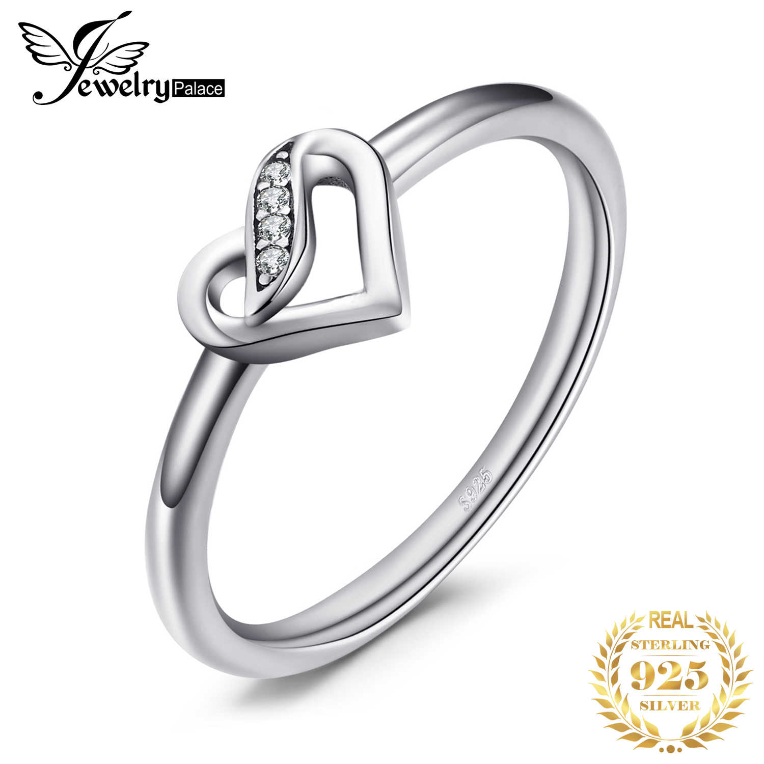 Jewelrypalace 925 Sterling Silver Finger Heart Ring 2018 New Design Ring For Women Or Girl 925 Sliver Rings Jewelry Women