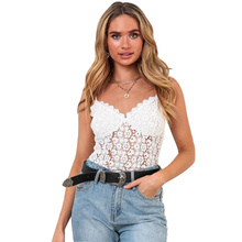 Tank Top Underwear Hollow Out Lace Camis Sleeveless Solid Casual Sexy White Top Party Night Streetwear Cami Top Woman Clothing