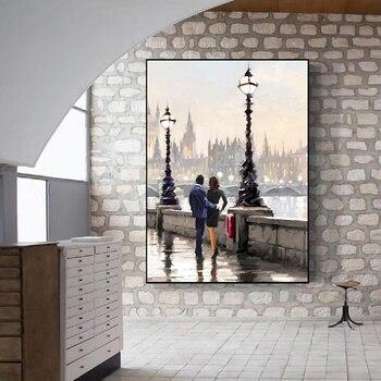 Couple Rain Umbrella Oil Paintings Printed on Canvas 3