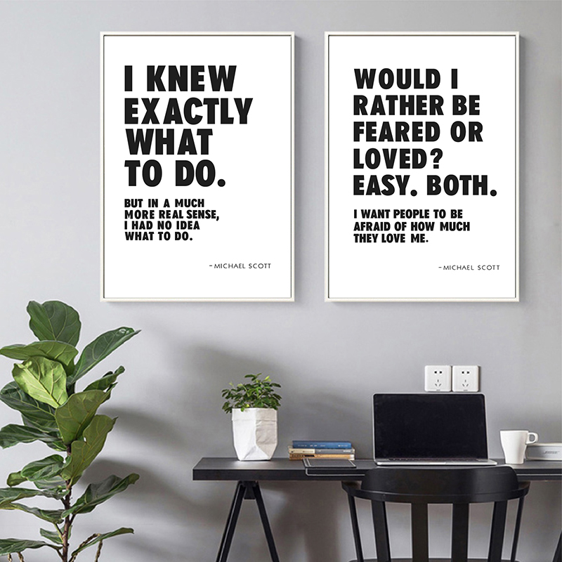 Funny TV Show Quotes Posters and Prints Office Wall Art Decor Michael Scott Office Quote Black White Typography Canvas Painting image