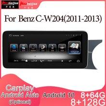 Android 10 carro multimídia dvd player de rádio estéreo navegação gps carplay auto para mercedes benz C-W204 2din unidade direita