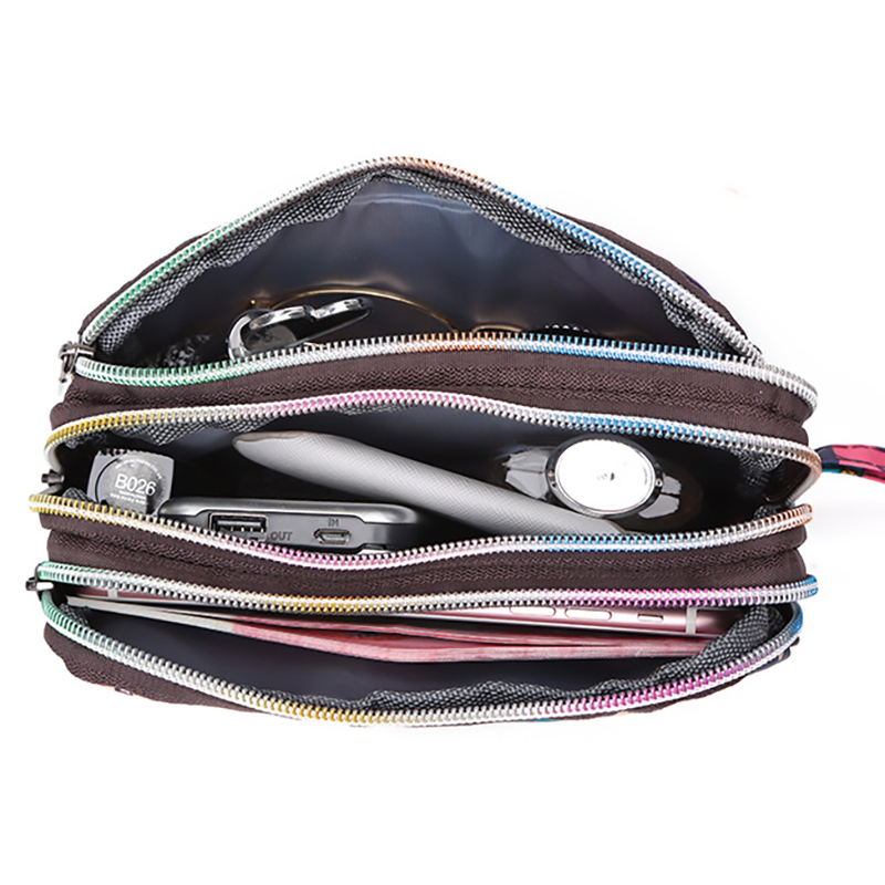 Small Bags Women Printed Long Travel Wash Bag Portable Handbag Phone Pouch Wristlet Bags Waterproof Nylon 3 Zipper Clutch