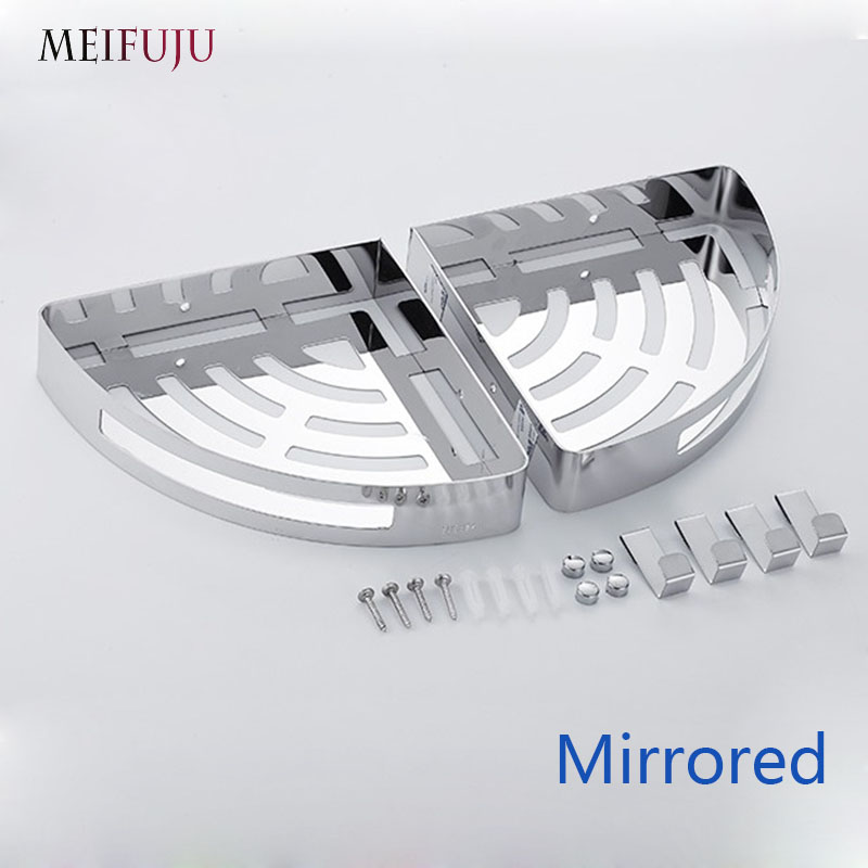 Купить с кэшбэком Brushed Mirrored Single Dual Triple Tier Bathroom Corner Shelf Shower 304 Stainless Steel Bathroom Shelves & hooks Wall Mounted