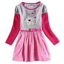 Girls Childrens Long Sleeve Dress Autumn New Plush Thicken Embroidered Cotton for in Dresses H6688D