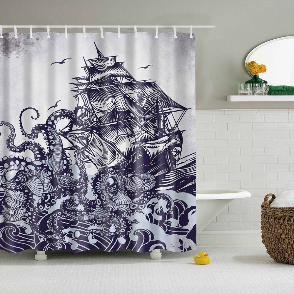 dafield octopus decor shower curtain sail boat waves and octopus old look bathroom design hand drawing effect waterproof fabric