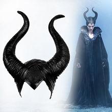 Hat Horns Maleficent Cosplay Headwear Witch Halloween Black Queen Mask Helmet Party