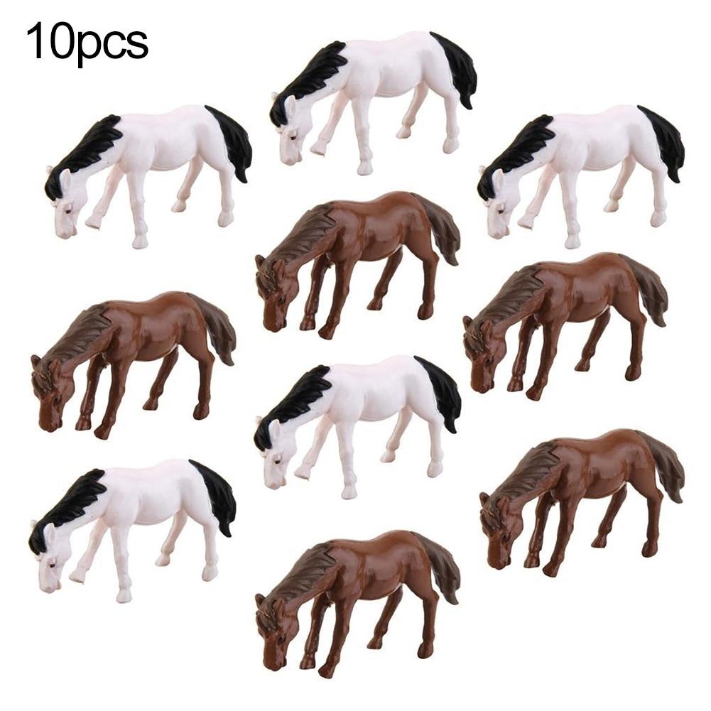 10 pçs bonito mini miniatura cavalo musgo fada jardim estatueta paisagem bonsai decoração