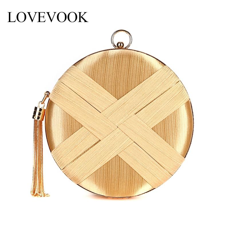 LOVEVOOK women evening clutch silk handbag messenger bag for ladies fashion round clutch for party/wedding/concert tassel chain