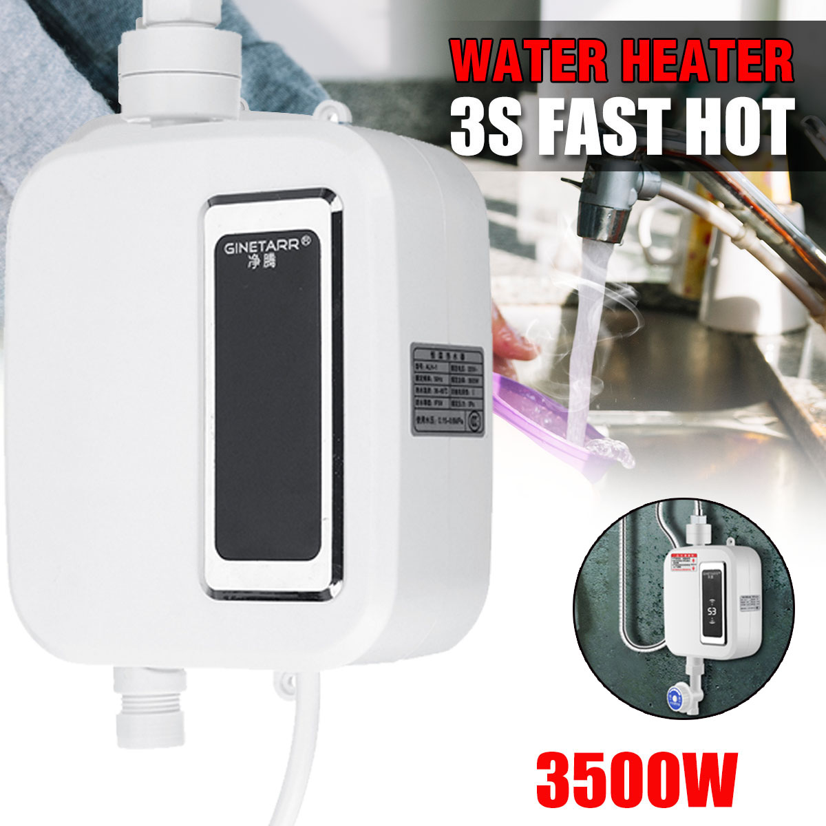 Water Heater 3500W Mini Electric Tankless Instant-Hot Water Heater Intelligent Kitchen Faucet Tap Heating Waterproof Thermostat