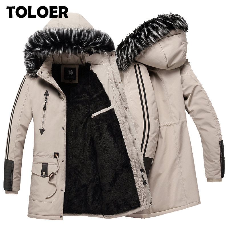 Warm Jacket Parka-Coats Hooded Thicken Fleece Casual Winter Fashion Mens High-Quality title=