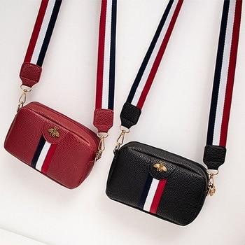 Оптовая продажа, женская сумка через плечо пчела, модный ремень в полоску на молнии, оптовая продажа, новый стиль 2020, мини-кошелек