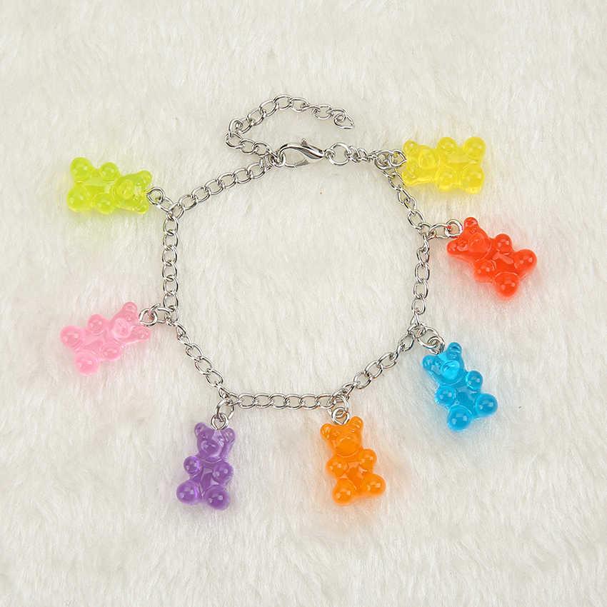 1PC Wanita Gelang Anak Rantai Tangan Permen Warna Campuran Resin Gummy Bear Pesona Pesta Ulang Tahun Hadiah Menerima Custom- membuat