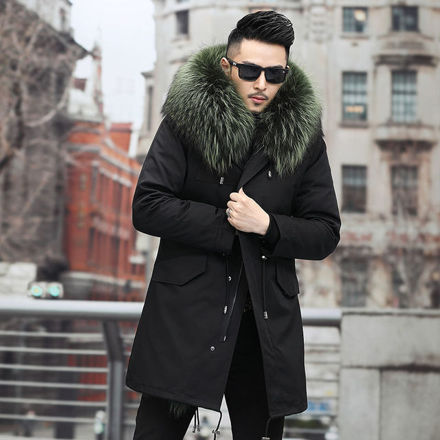 Windbreaker 2021 New Winter Real Fox Fur Coat Long Parka Men Real Rabbit Fur Liner Natural Fur Hooded Thick Warm Male Jacket 3