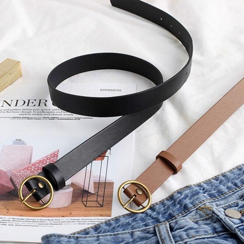 Belt Fashion Round Buckle Bronze Buckle Belt Solid Color Female Belt Jeans PU Belt For Women Bronze Buckle Belt Camel Black