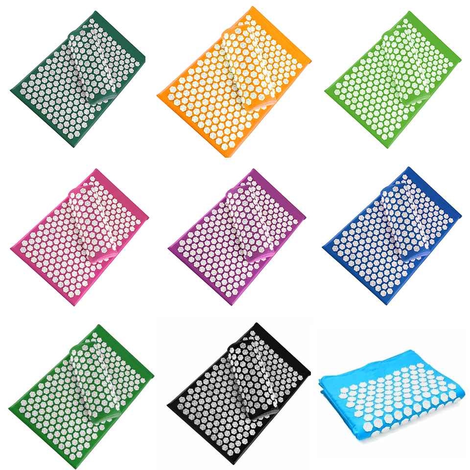Drop Shipping 12 Color Lotus Acupuncture Massage Mat With Pillow Set Fitness Yoga Mat Spiky Cushion For Bed Pilates Pain Relieve