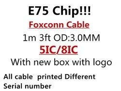10 pçs/lote original 1m/3ft e75 chip usb cabo carregador de dados para o telefone 5S 6s 7plus 8 x com nova caixa