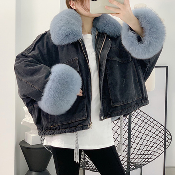 2020 winter jakcet women parka real fox fur collar Rex Rabbit Fur liner denim jacket plus size short coat vintage korean fashion цена 2017