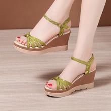 Plus Size 32-43 Platform Sandals Women Shoes Summer 2021 Open Head High Heels Wedges Sandals Ladies Casual Beach Sandals