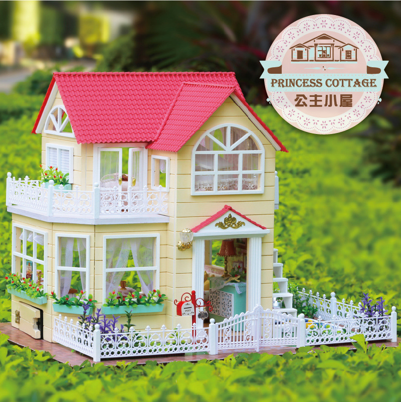 DIY Large Wooden Dollhouse Miniature Building Model Kits Princess Cottage Doll House With Furniture Crafts Home Decorations Gift 2