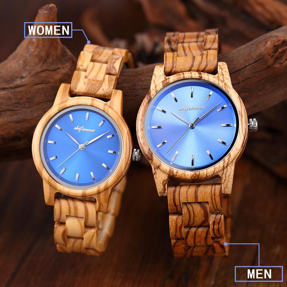 Relógio de Madeira Shifenmei Gravado Woemen Relógios Mão Quartzo Pulseira Aço Inoxidável Masculino Feminino S5551 Men –