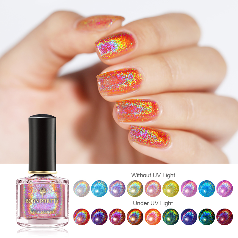 BORN PRETTY Holographic Nail Polish Pink Glittering Shimmer Laser Nail Art Varnish Color DIY Manicuring Design 6ml Nail Polish