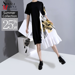 New 2020 Hit Color Design Women Summer Black Patchwork Dress With Sashes One Size Printed Midi Lady Casual Dress Robe Femme 6221(China)