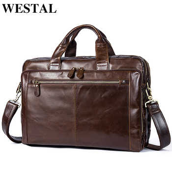 WESTAL Men\'s Briefcase Men\'s Leather Bag Men Genuine Leather Zip Messenger Bag Man Leather Laptop Bag for Men Computer Bags 9207 - DISCOUNT ITEM  44 OFF Luggage & Bags