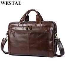 WESTAL erkek evrak çantası erkek deri çanta erkek hakiki deri Zip askılı çanta erkek deri Laptop çantası erkekler için bilgisayar çantaları 9207