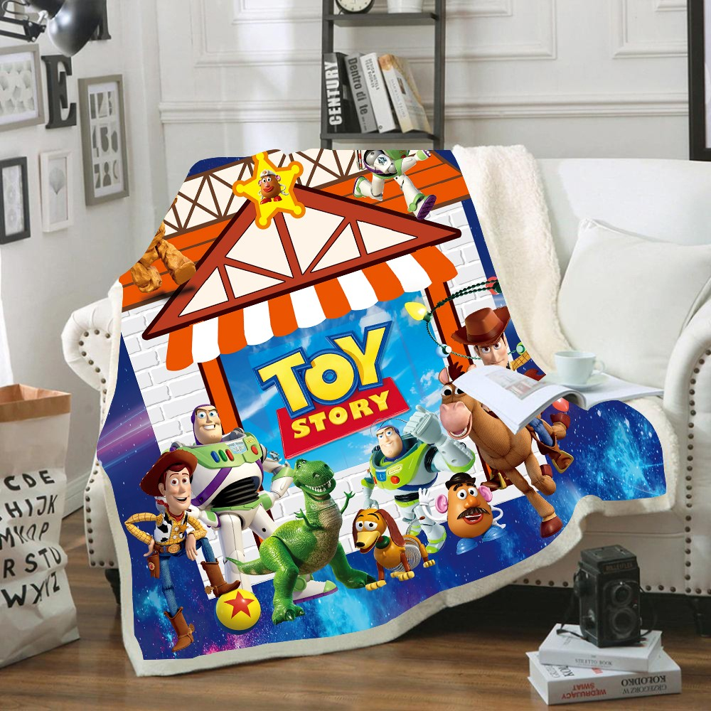 Disney Toy Story Sherif Woody Buzz Lightyear  Baby Plush Blanket Throw Sofa Bed Cover Twin Bedding For Boys  Children Gifts