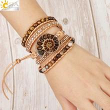 CSJA – Bracelet enroulé en cuir fossile, style Boho, pierre naturelle, perle oeil de tigre, multicouches, wickelband S475