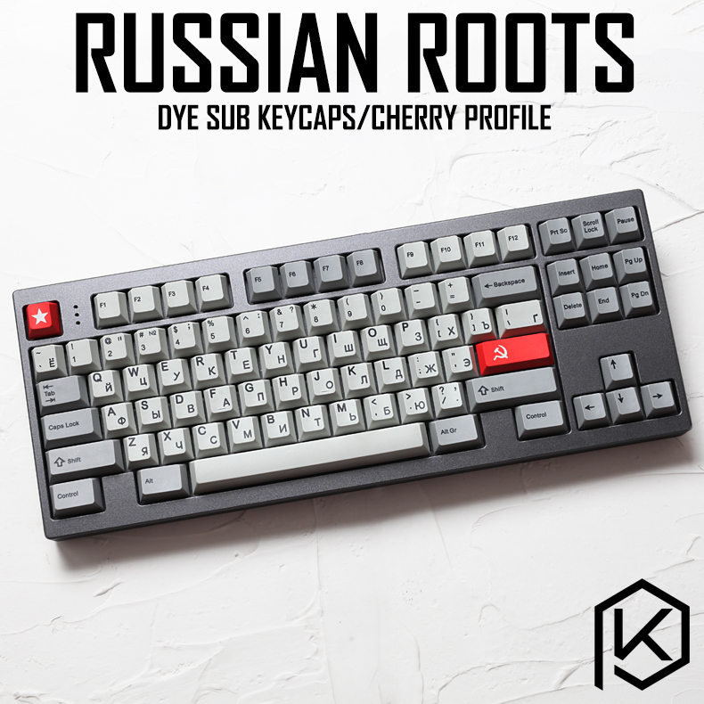 Kprepublic 139 Russian Root Russia Font Language Cherry Profile Dye Sub Keycap PBT For Gh60 Xd60 Xd84 Cospad Tada68 87 104