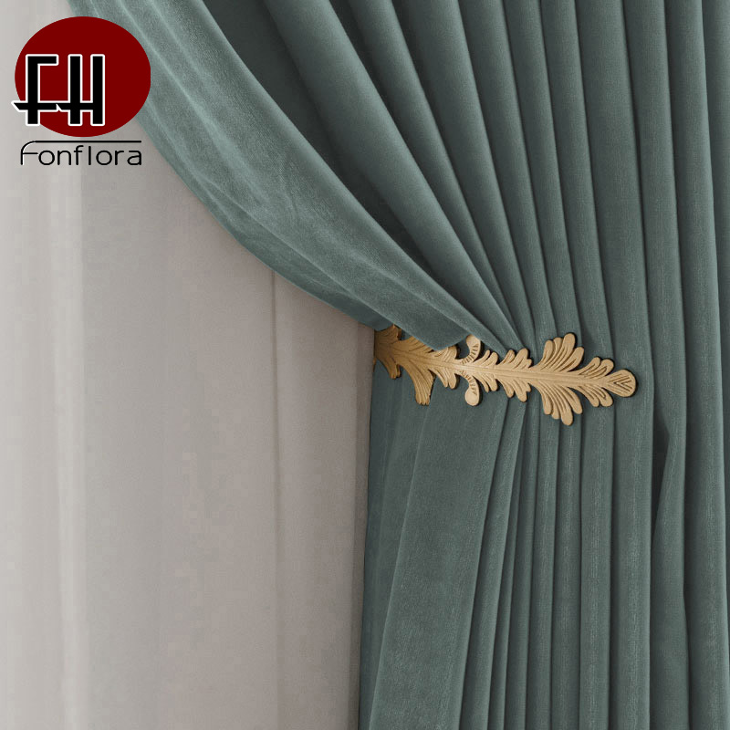 New Velvet Blackout Curtains For Living Room Green Flannel Curtains For Bedroom Soft Fabric Window Treatment Custom Size Drapes