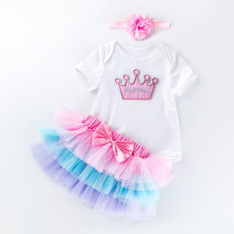 2nd bébé fille vêtements 2 ans robe de fête d'anniversaire été coton tenues 3 pièces infantile enfant en bas âge Tutu robe pour fille baptême