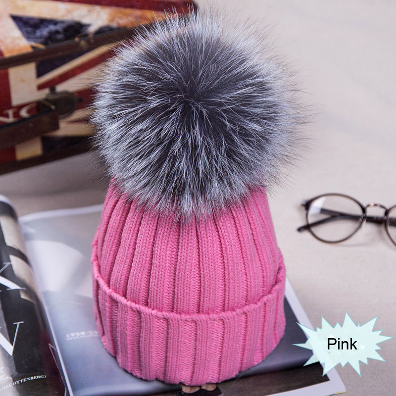 Women Fur Pom Winter Warm Beanie Knitted Large Faux Fur Pom Hats Bobble Skullies Hat Ski Thick White Black Cap Ladies Beanies