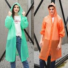 Модные женские мужские и взрослые EVA окружающей среды прозрачный плащ с капюшоном для дождевик непромокаемый дождевик водонепроницаемый пончо
