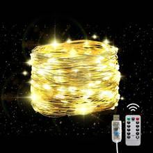 50/100/200 светодиоды Медный провод гирлянды usb на солнечных