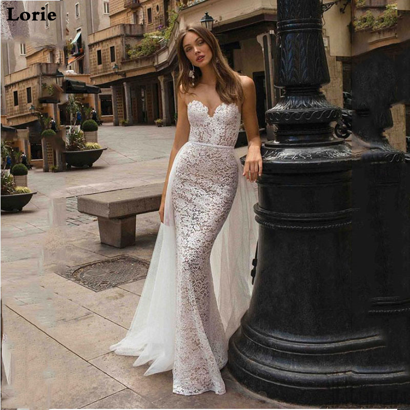 LORIE Lace Mermaid Bridal Dress Appliques Sleeveless Beach Wedding Dresses Vintage Detachable Train Turkey Wedding Gown